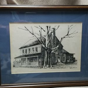 Ink Drawing Old House Matted Framed
